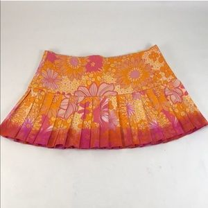 3/$27 LF Orange Pleated Hippie Retro Mini Skirt